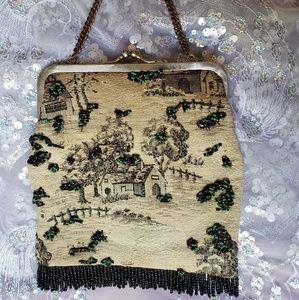 Vintage beaded tapestry handbag